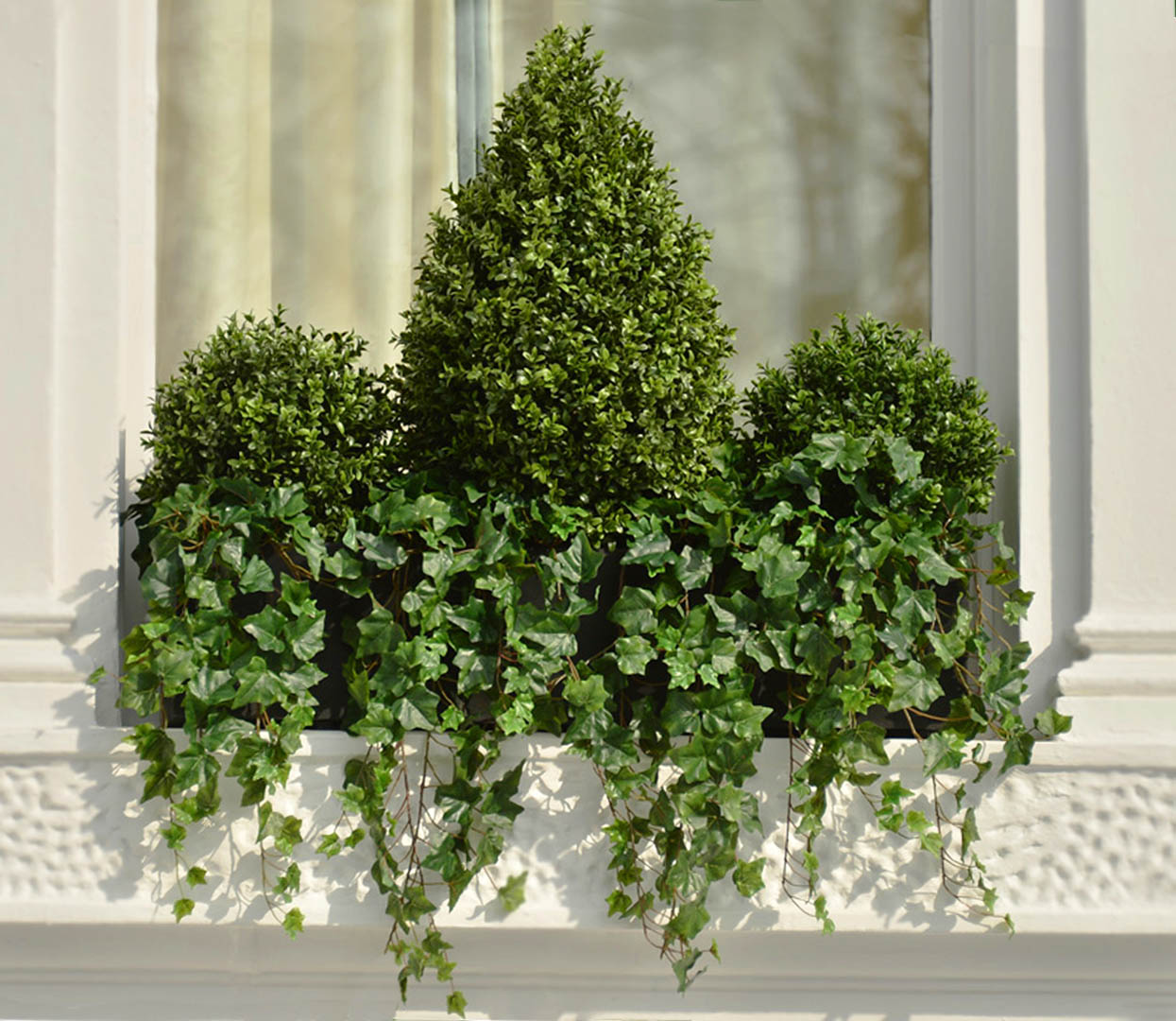 486 fake landscapes teardrop and ball buxus and ivy window box