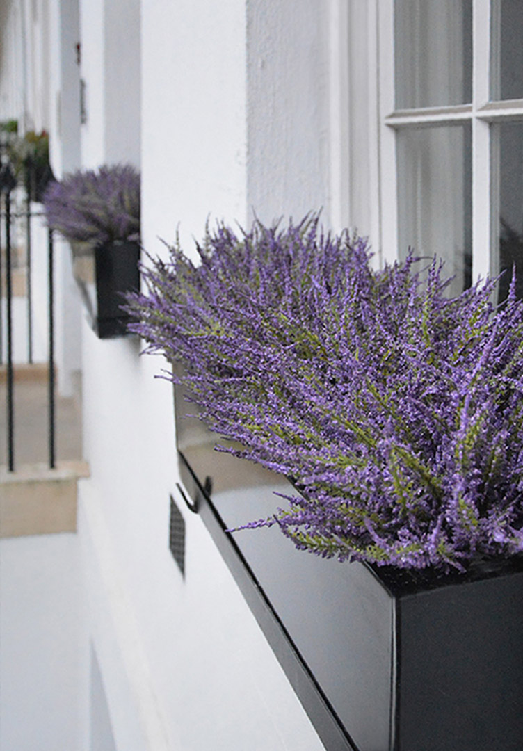 489 fake landscapes funky purple heather window boxes