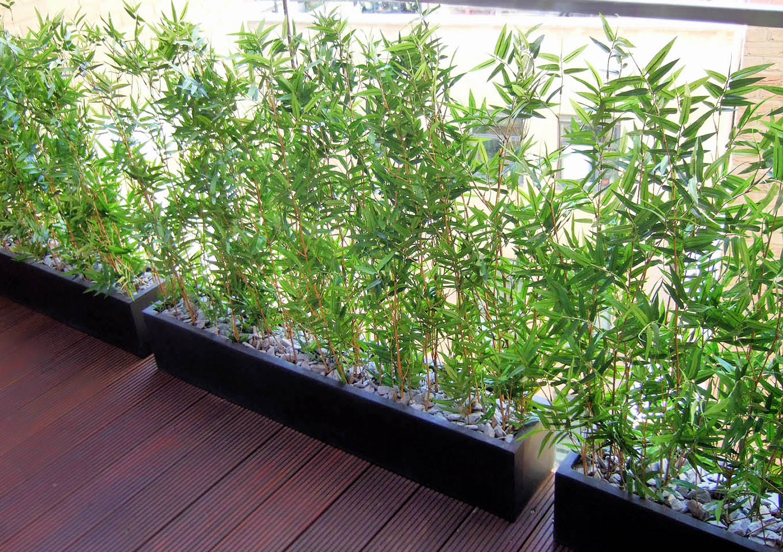 574 fake landascapes 90cm high balcony screening bamboo in 90x20x18 planters and slate surfacing