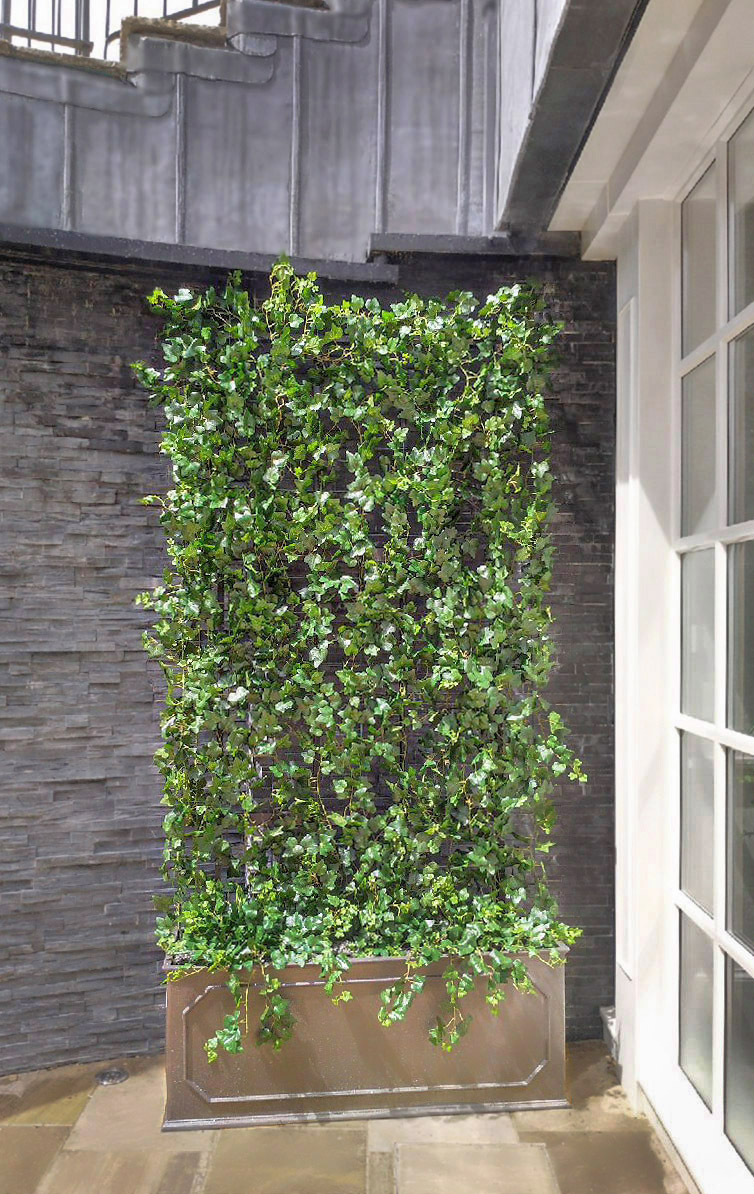 438 fake landscapes 220cm high UV ivy trellis wall in clients 130cm planter