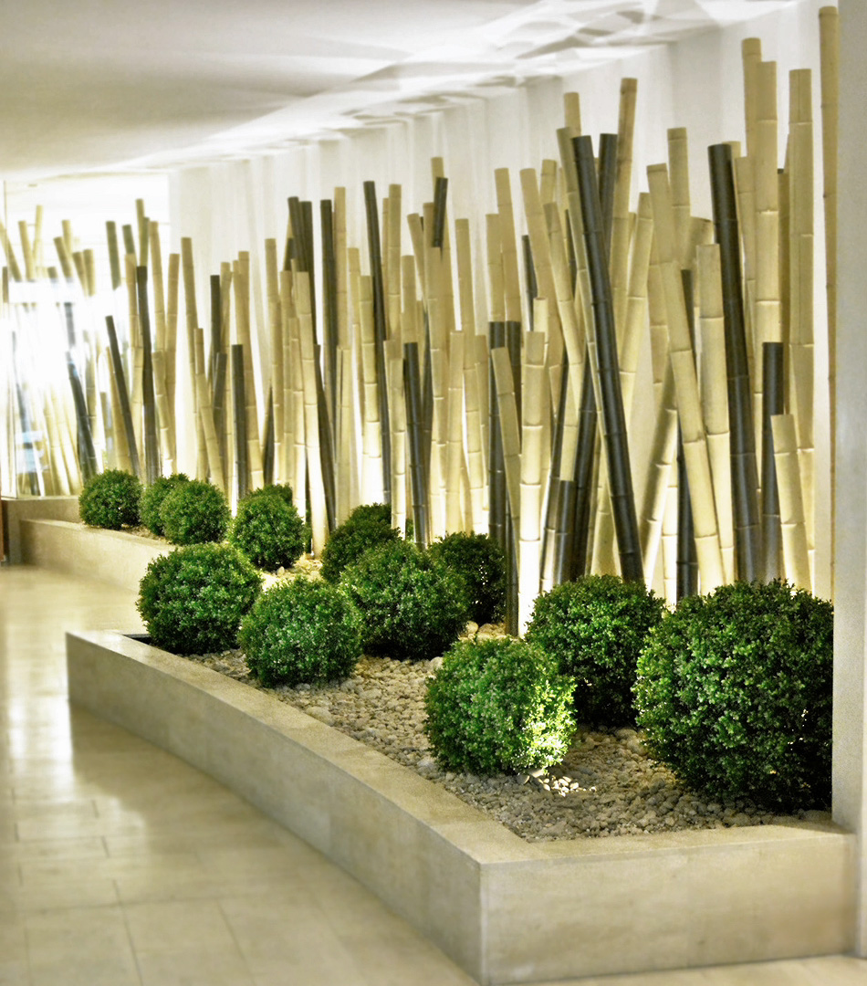 644 fake landscapes lobby NW3 buxus and bamboo