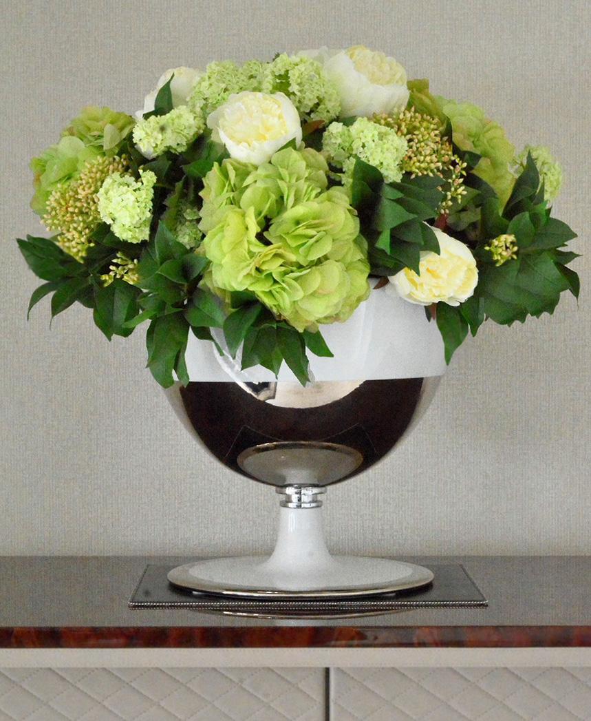 804 fake landscapes soft green dome arrangement in clients vase