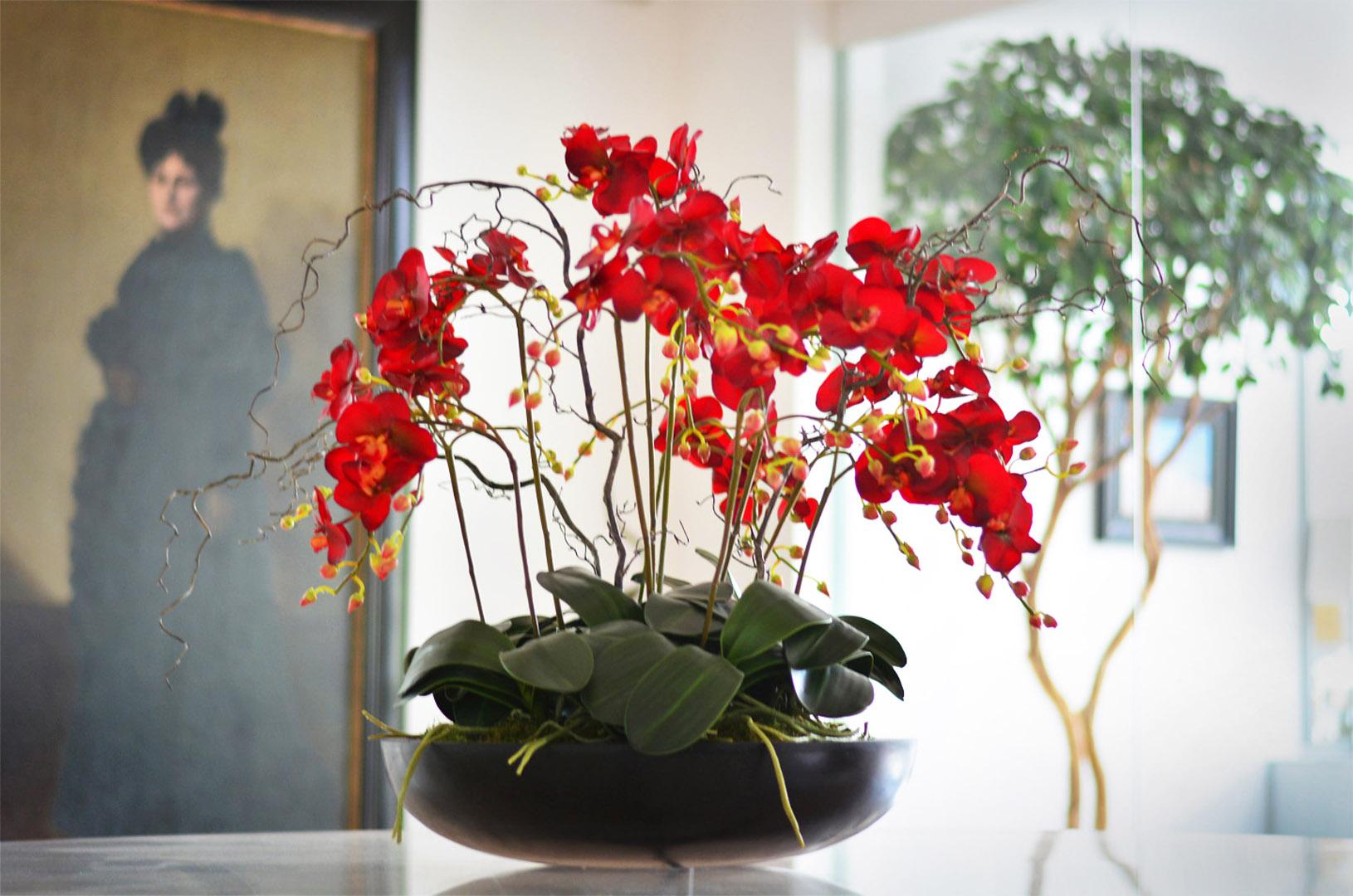 814 Fake Landscapes burgundy orchids in 50cm low bowl 1080DEF