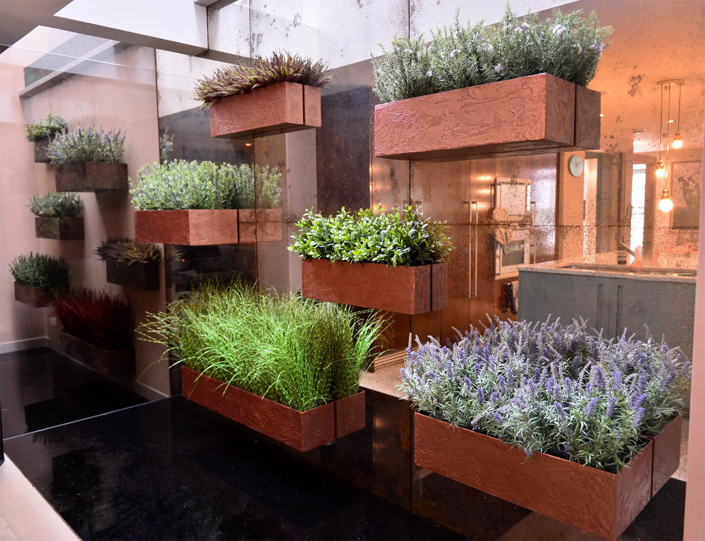 886 mixed wild planting on copper wall