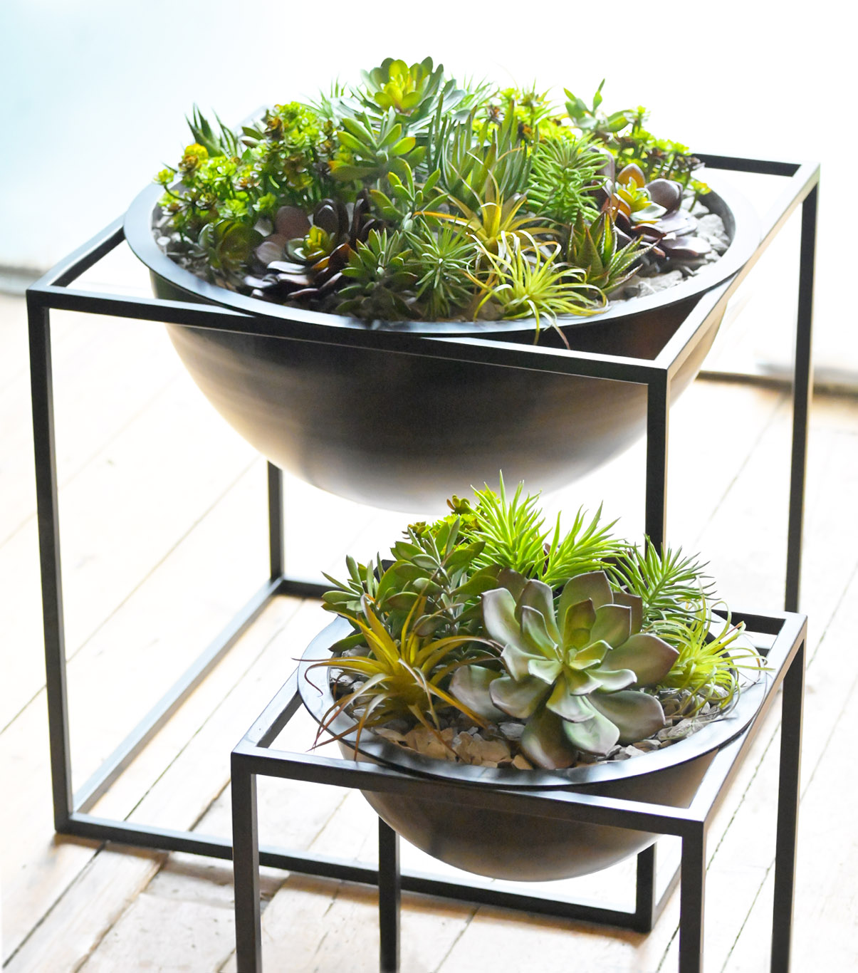892 fake landscapes succulents in clients nice double bowl